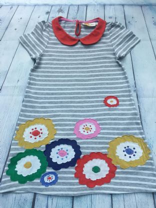 Mini Boden grey and white striped jersey dress with multi coloured applique flowers age 6-7